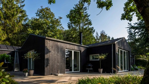 A wooden house surrounded by trees